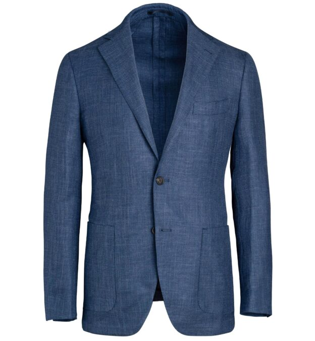 Bedford Blue Wool Silk and Linen Hopsack Jacket