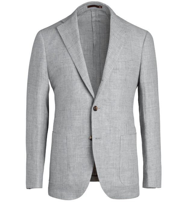 Bedford Light Grey Wool and Linen Basketweave Jacket
