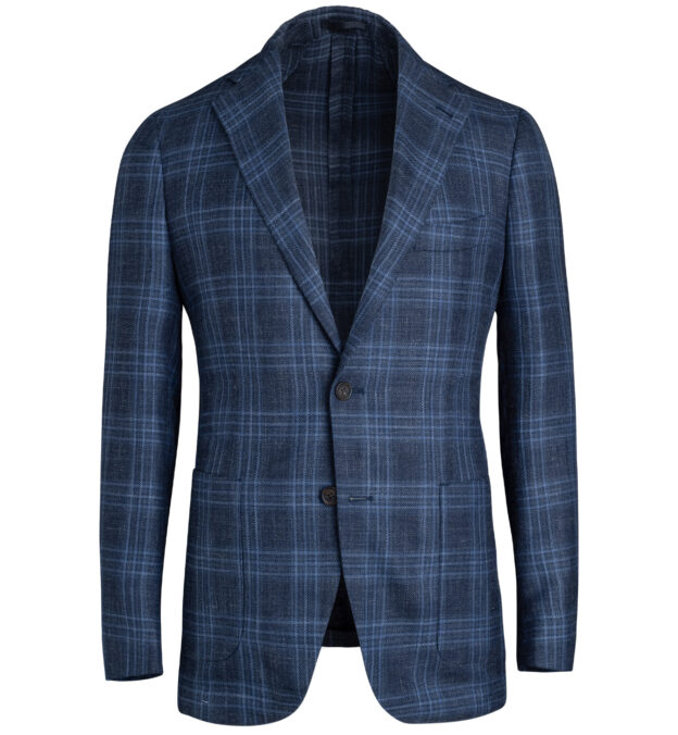 Bedford Navy Plaid Wool Silk and Linen Hopsack Jacket