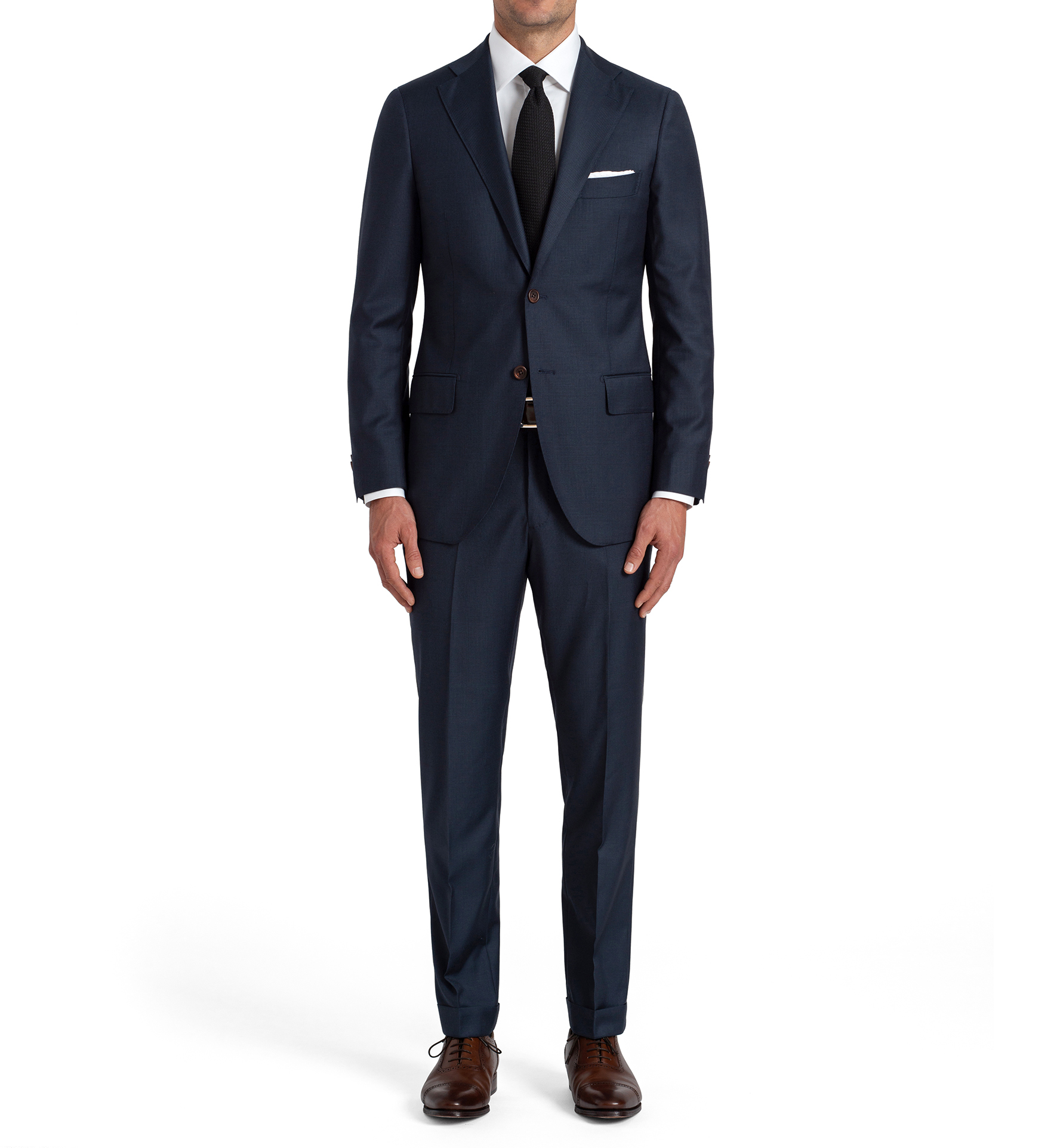 Zoom Image of Allen Navy S110s Glen Plaid Suit with Cuffed Trouser