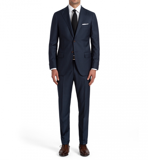 Allen Navy S110s Glen Plaid Suit with Cuffed Trouser
