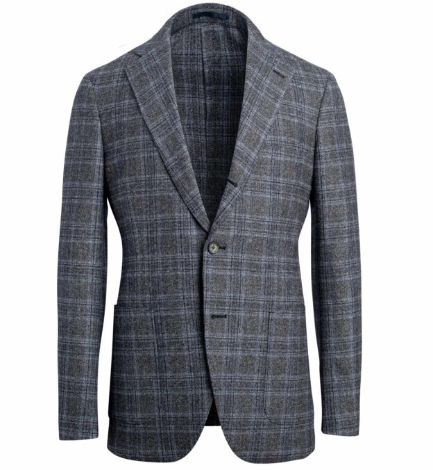 Bedford Grey Plaid Donegal Wool and Silk Jacket