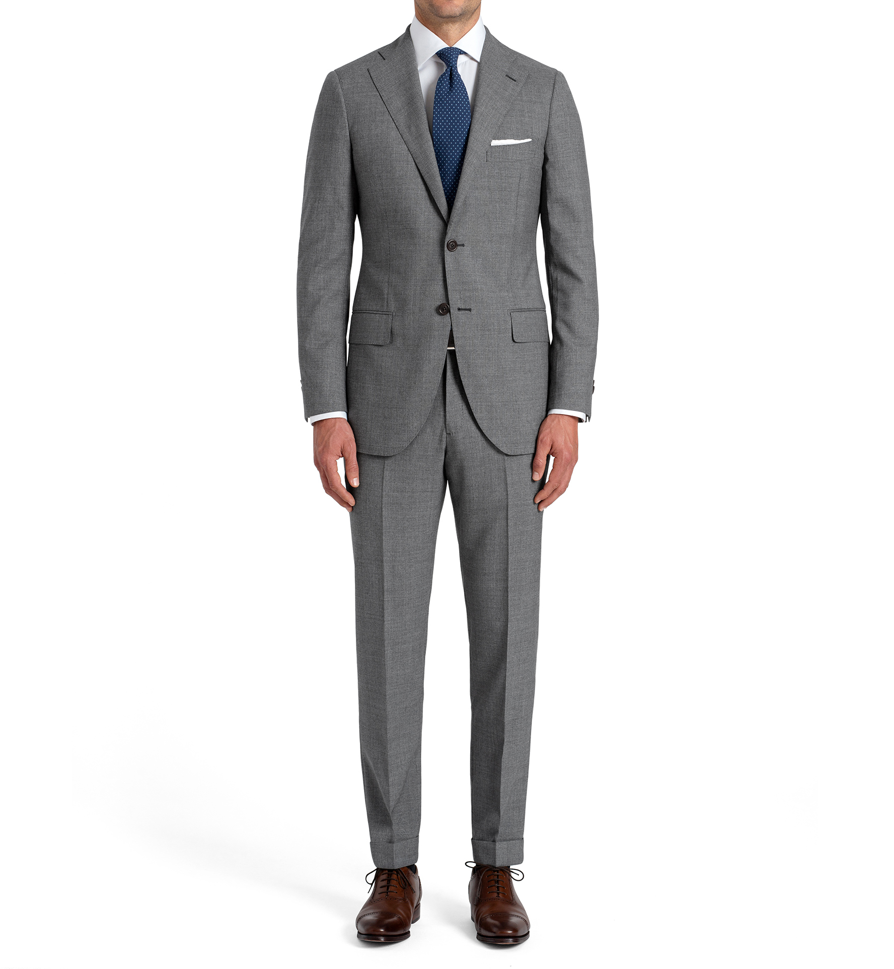 Zoom Image of Allen Grey Lightweight Fresco Wool Suit with Cuffed Trouser