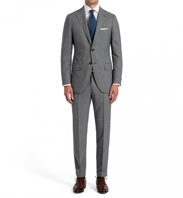 Allen Grey Lightweight Fresco Wool Suit with Cuffed Trouser
