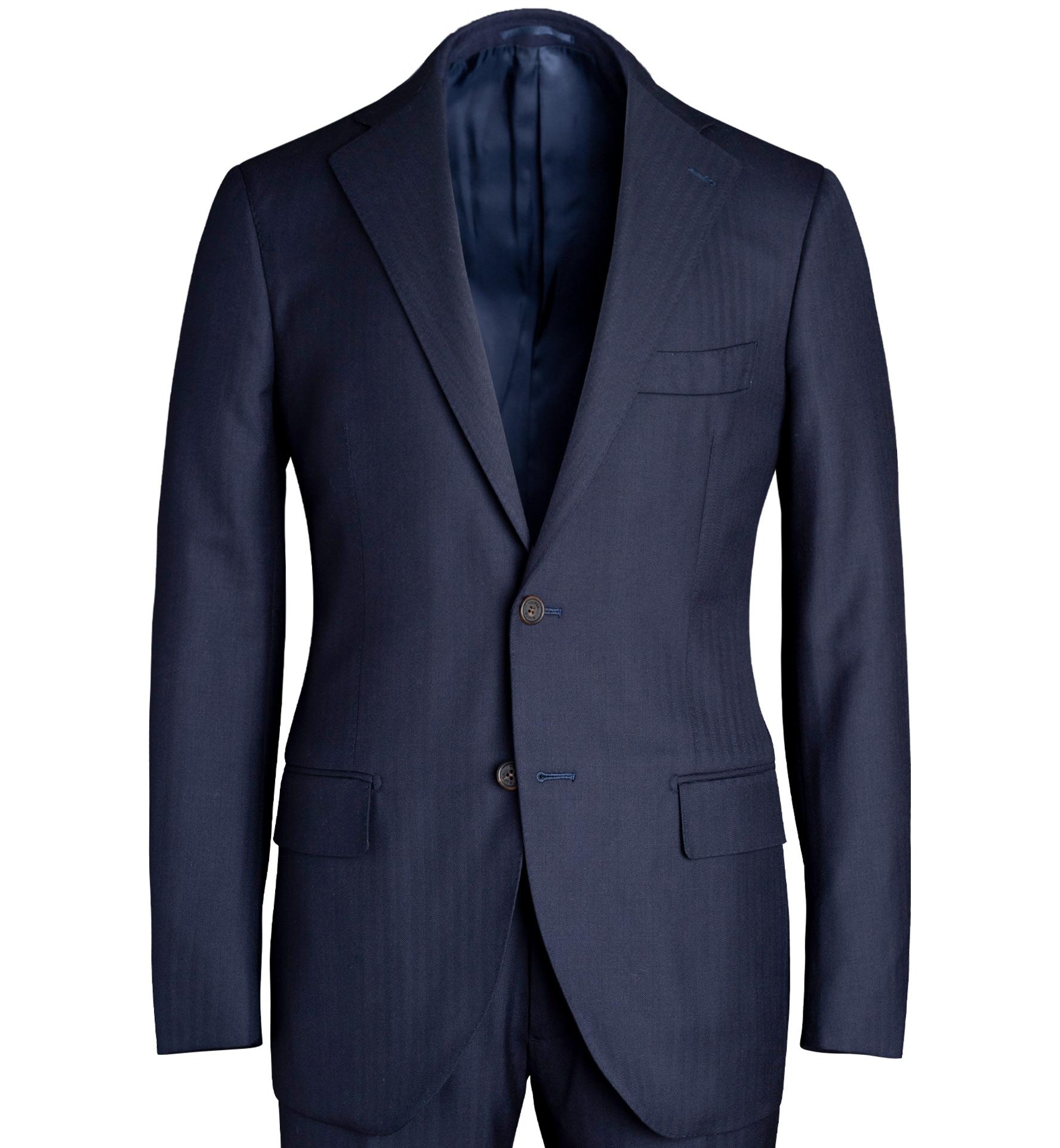 Zoom Image of Allen Navy S130s Herringbone Suit Jacket