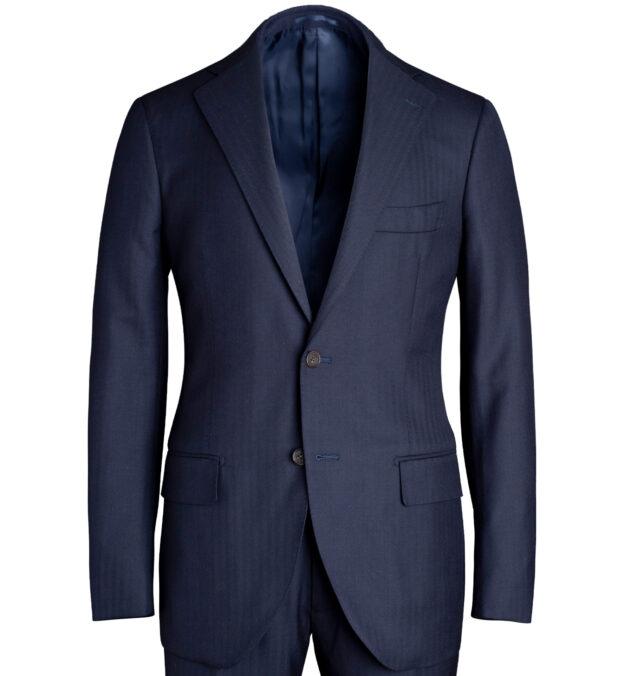 Allen Navy S130s Herringbone Suit Jacket