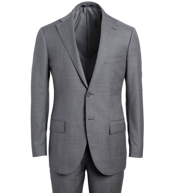 Allen Grey S130s Large Glen Plaid Suit