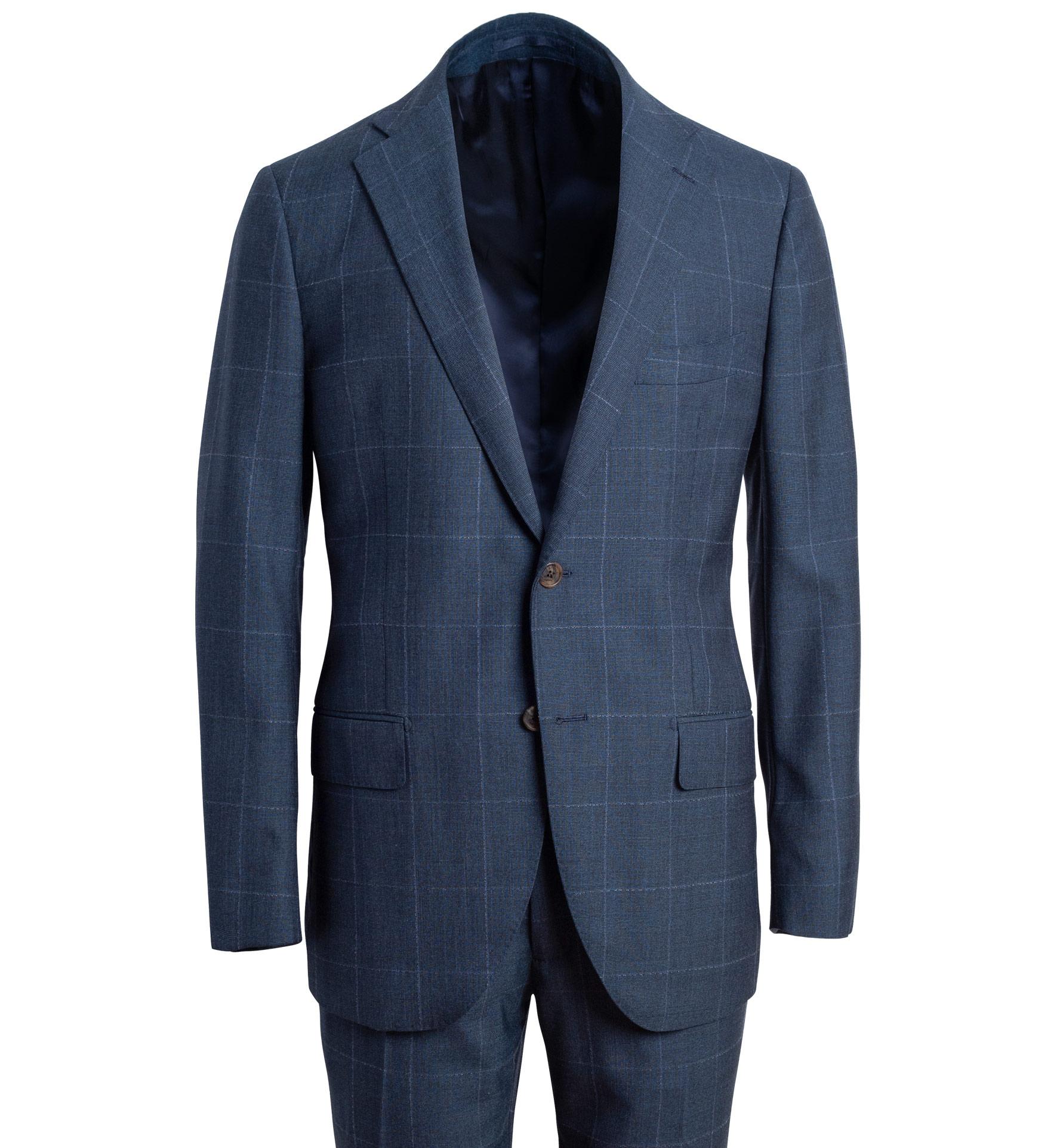 Zoom Image of Allen Blue S130s Windowpane Suit