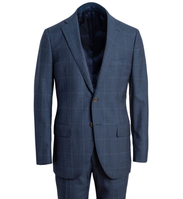 Allen Blue S130s Windowpane Suit
