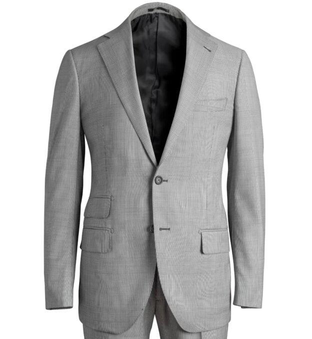 Allen Black and White Glen Plaid Suit Jacket