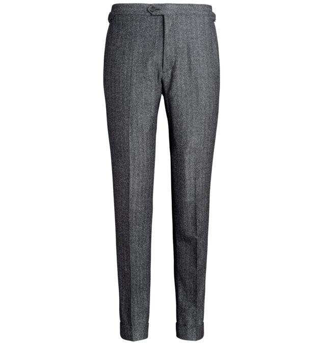 Allen Charcoal Wool and Silk Herringbone Trouser