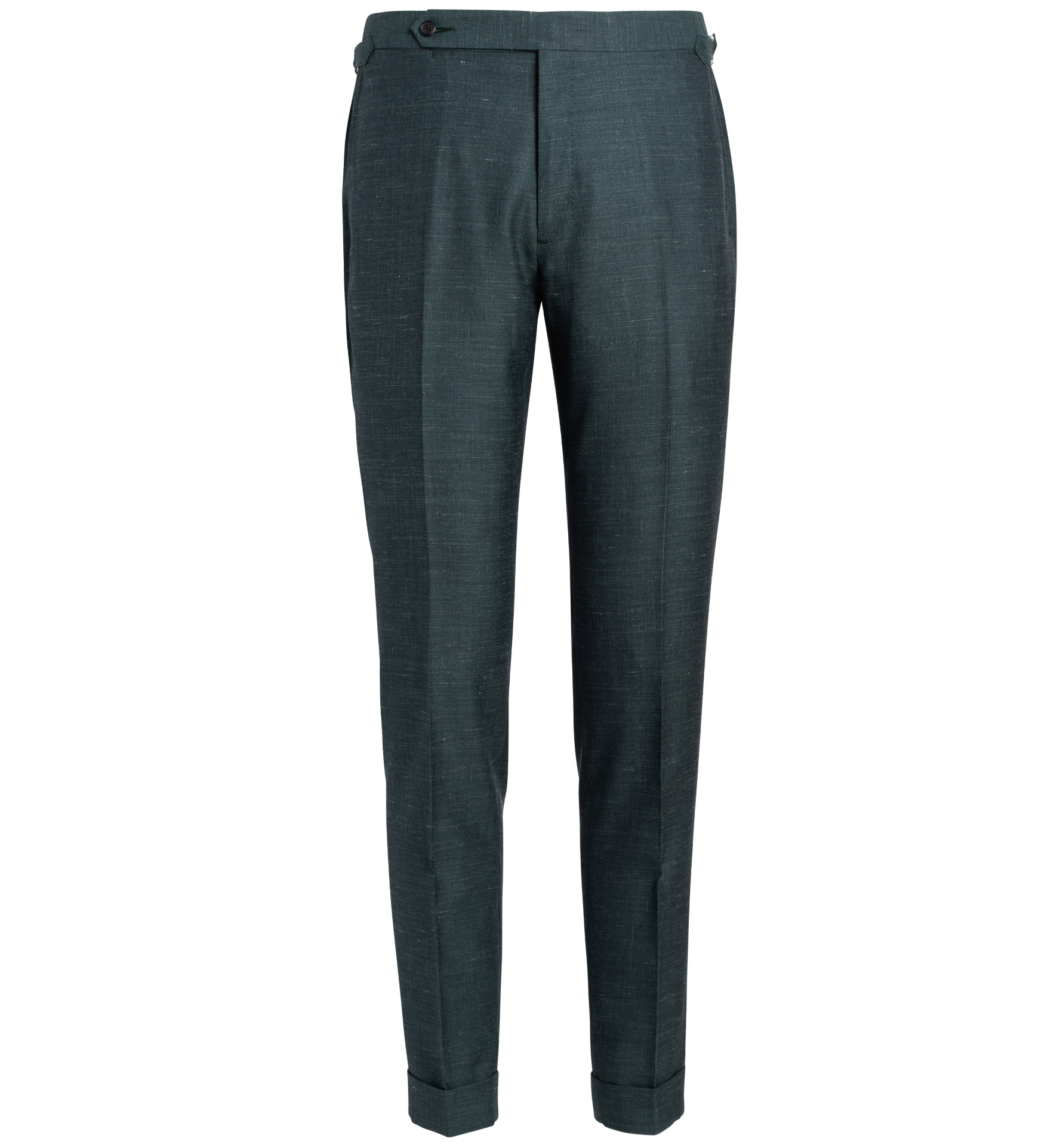 Zoom Image of Allen Faded Green Wool Silk and Linen Trouser