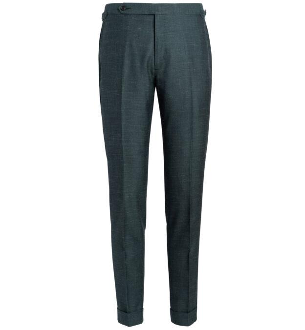 Allen Faded Green Wool Silk and Linen Trouser
