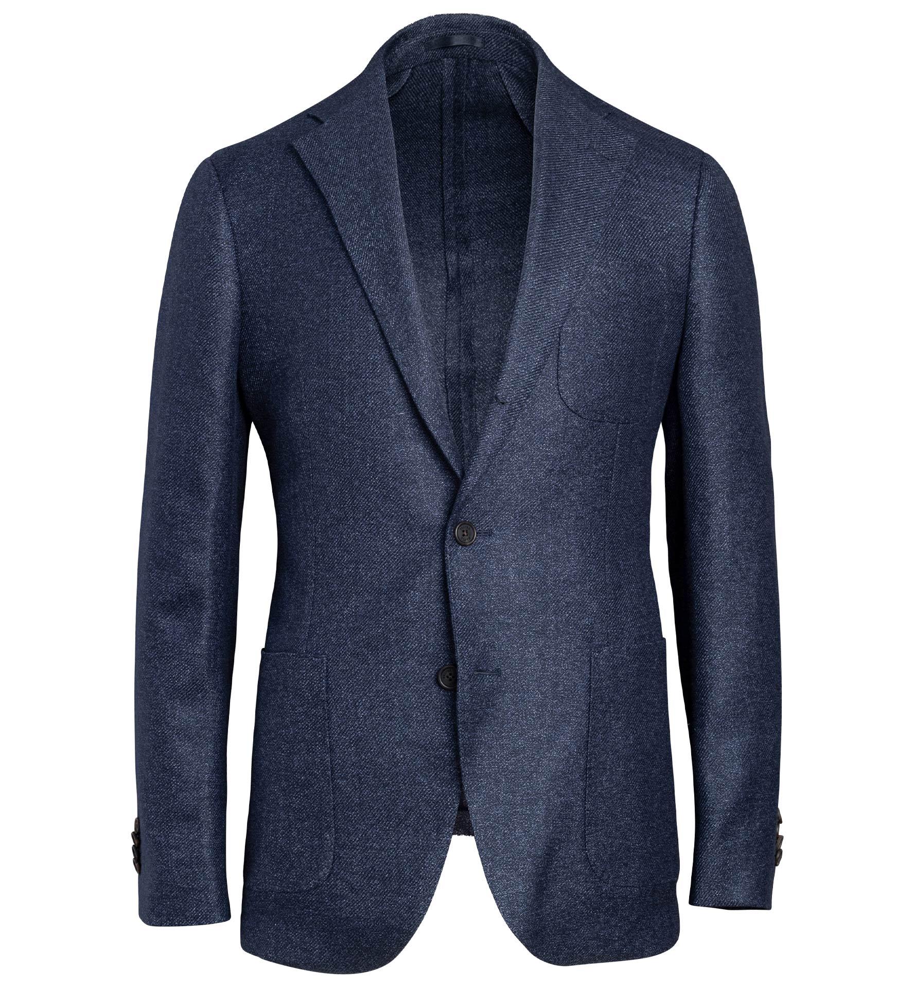 Zoom Image of Bedford Navy Melange Wool and Linen Jacket