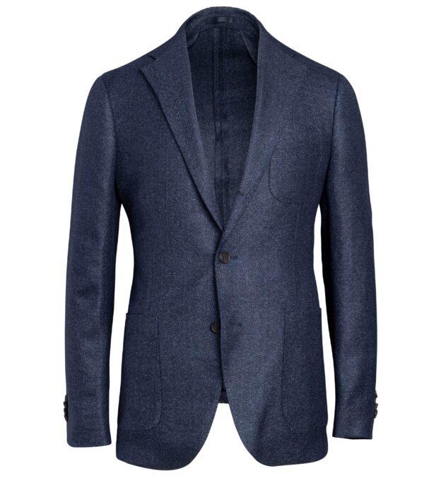 Bedford Navy Melange Wool and Linen Jacket