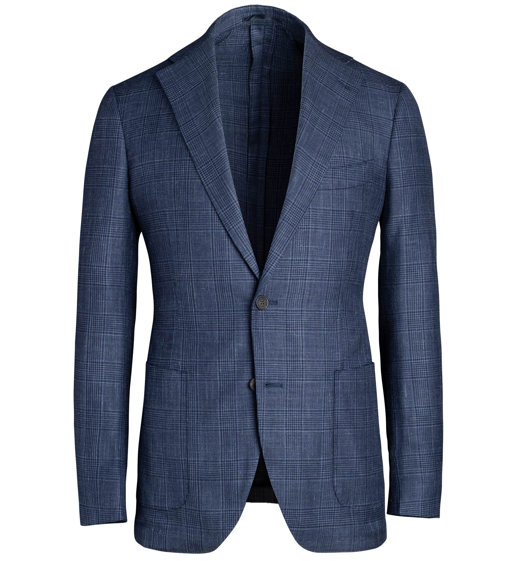Zoom Image of Bedford Navy Glen Plaid Wool Silk and Linen Jacket