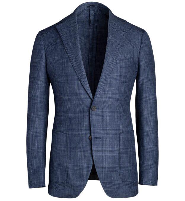 Bedford Navy Glen Plaid Wool Silk and Linen Jacket