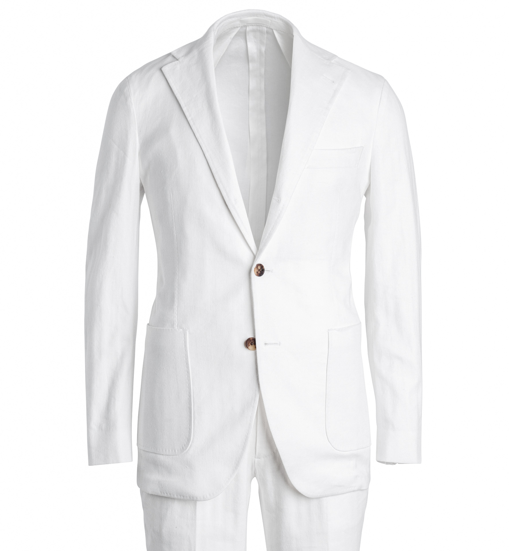 Zoom Image of Waverly White Cotton and Linen Stretch Herringbone Suit