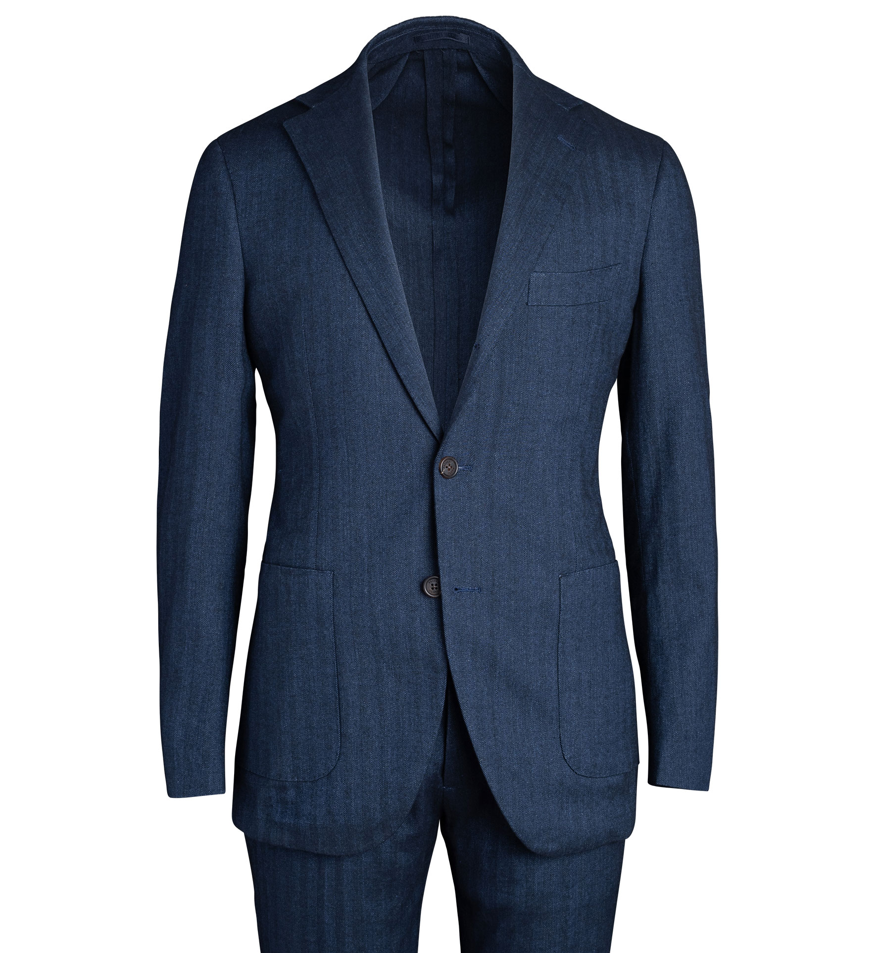 Zoom Image of Waverly Navy Cotton and Linen Stretch Herringbone Suit