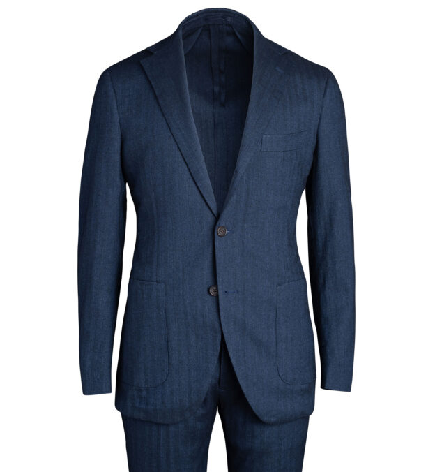 Waverly Navy Cotton and Linen Stretch Herringbone Suit