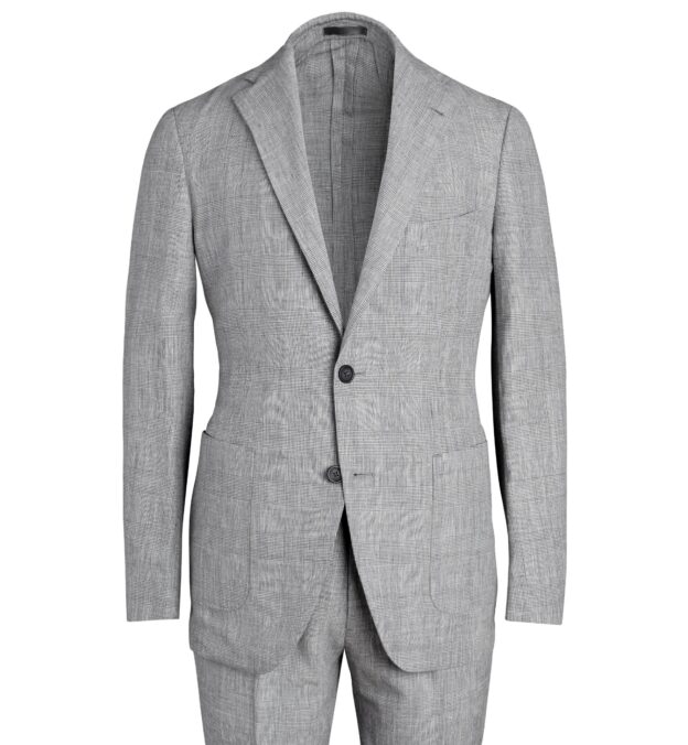 Bedford Light Grey Glen Plaid Linen and Wool Suit