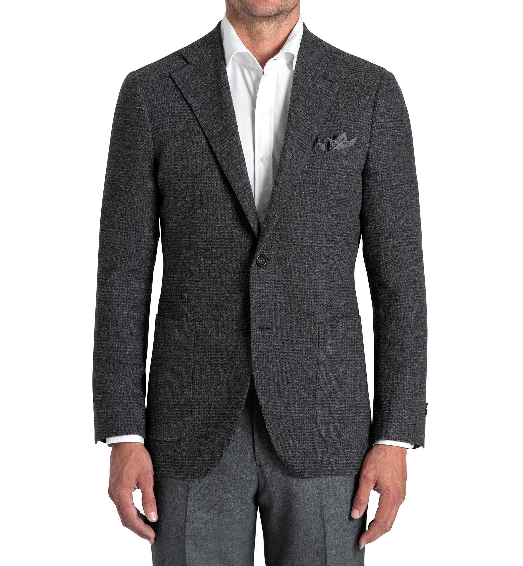 Zoom Image of Bedford Grey Glen Plaid Wool Boucle Jacket