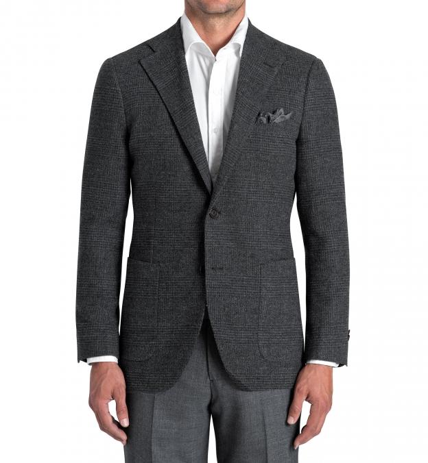 Bedford Grey Glen Plaid Wool Boucle Jacket