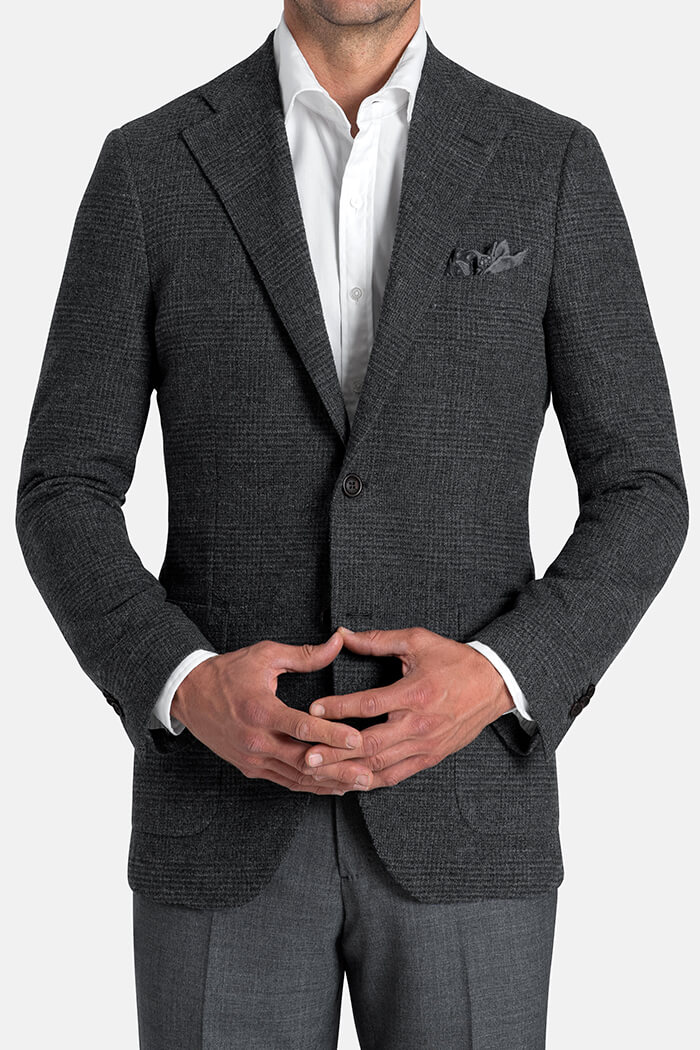 Bedford Grey Glen Plaid Wool Boucle Jacket