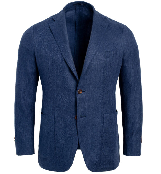 Bedford Indigo Linen and Wool Herringbone Jacket