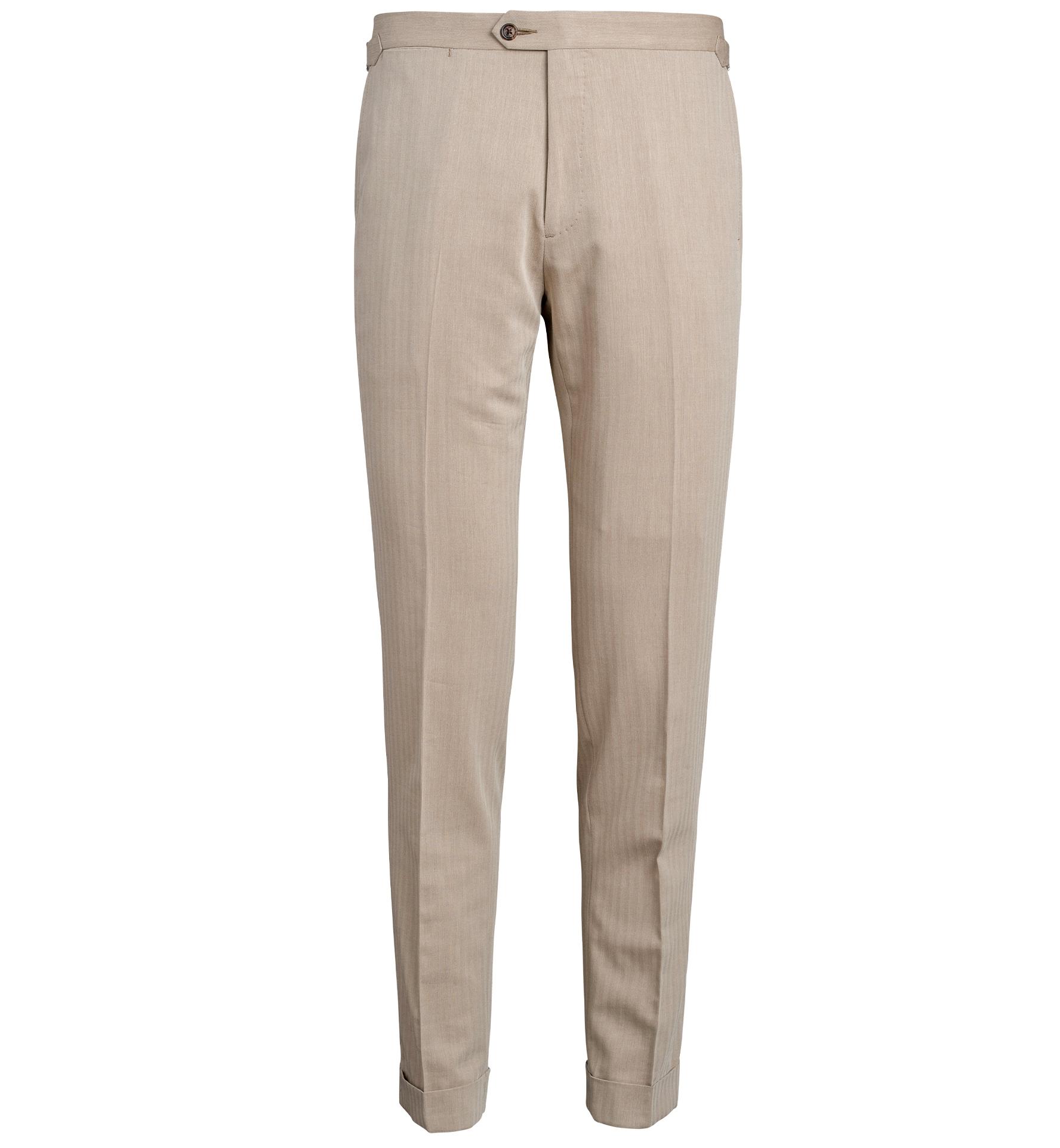 Zoom Image of Allen Beige Wool and Cotton Solaro Trouser
