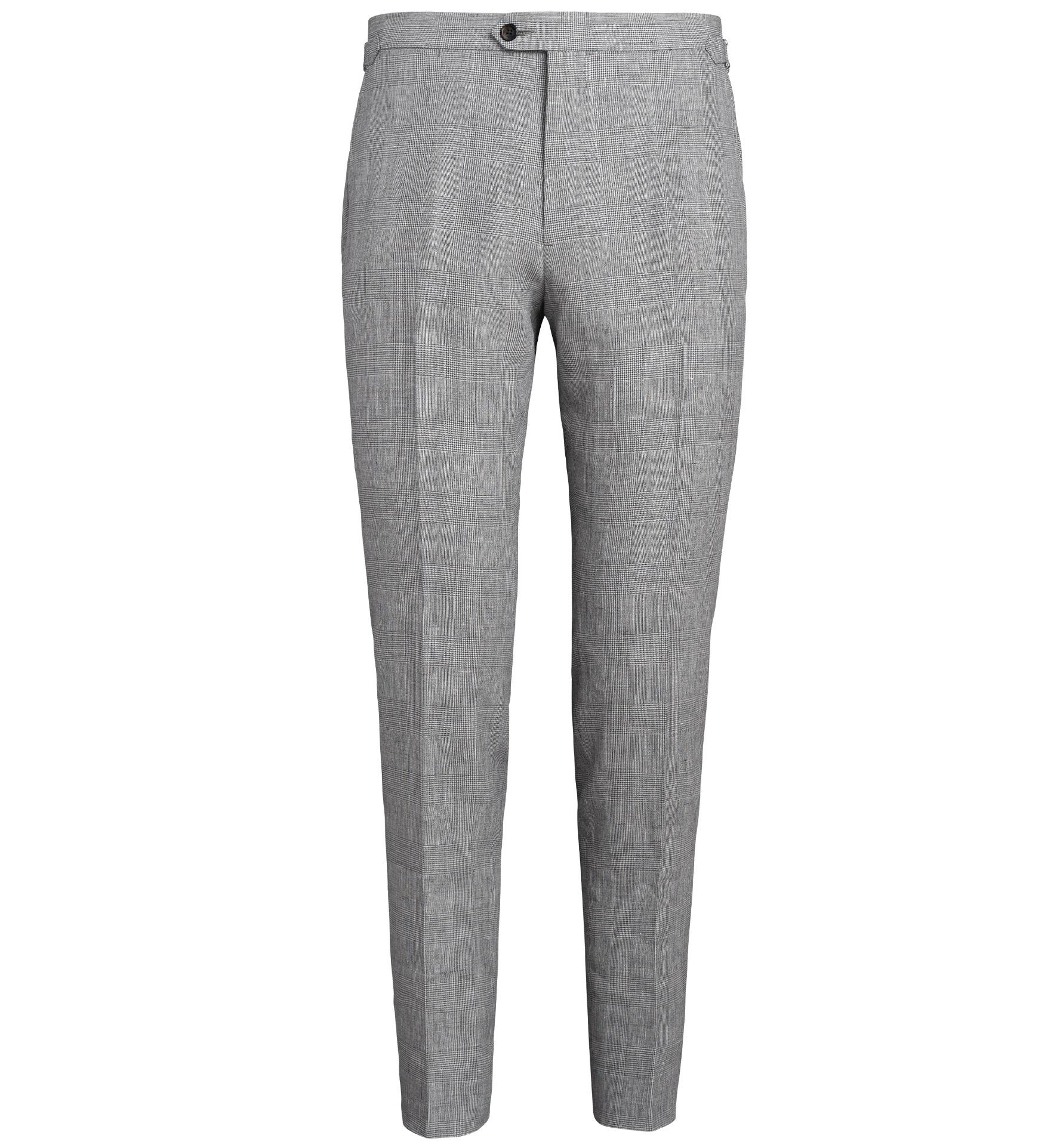 Zoom Image of Allen Light Grey Glen Plaid Wool and Linen Trouser