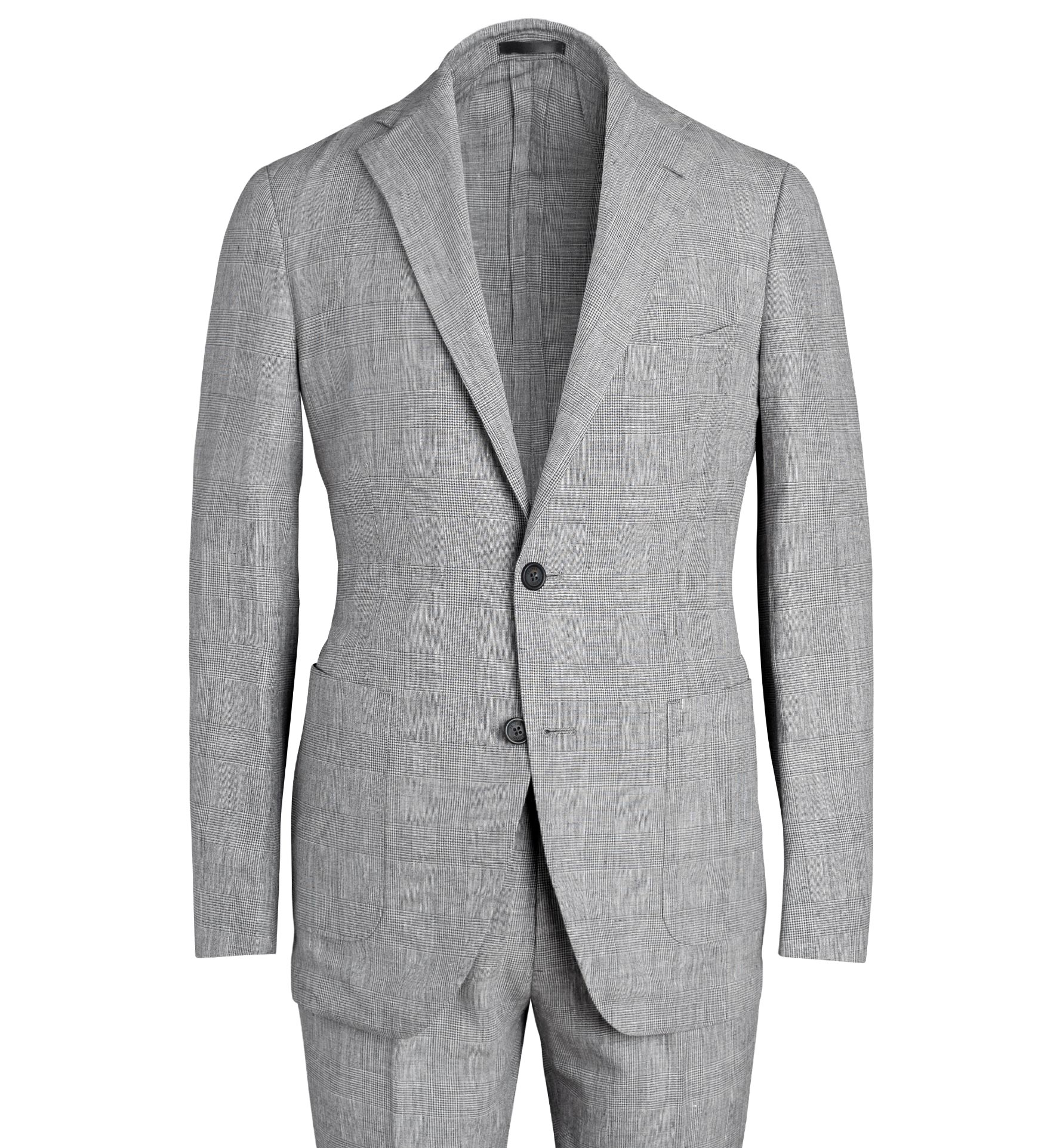 Zoom Image of Bedford Light Grey Glen Plaid Wool and Linen Suit Jacket