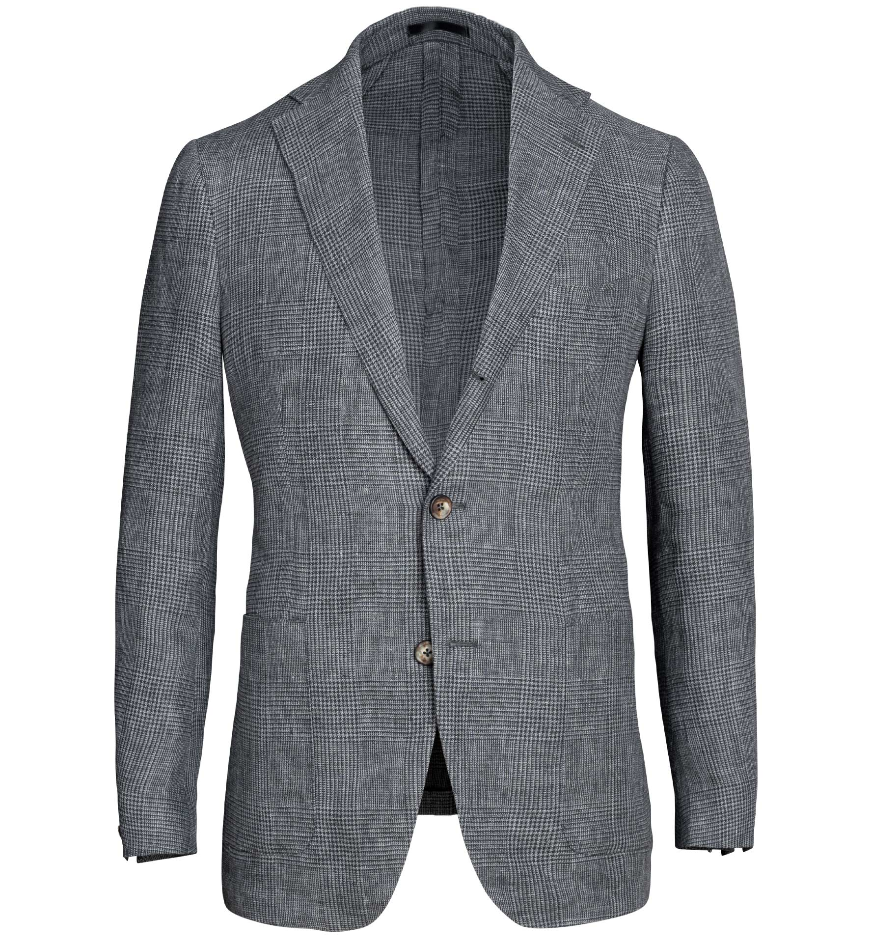 Zoom Image of Bedford Grey Melange Glen Plaid Linen Jacket