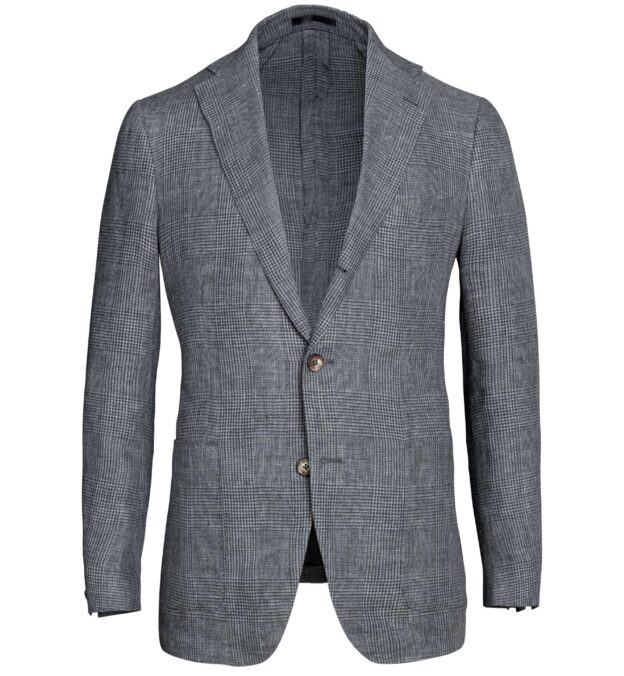 Bedford Grey Melange Glen Plaid Linen Jacket