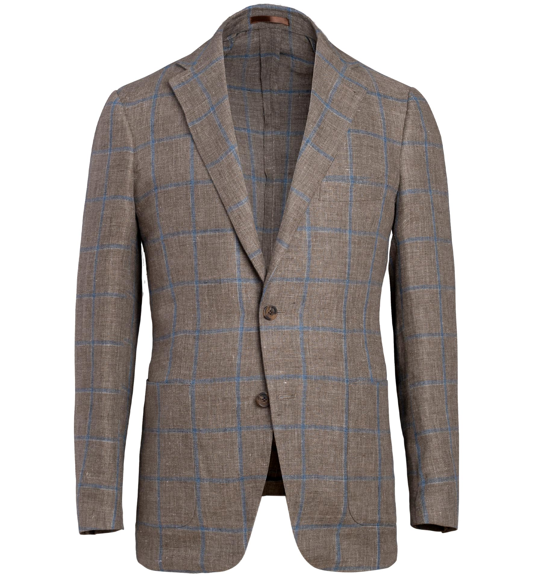 Zoom Image of Bedford Brown and Blue Windowpane Linen Jacket