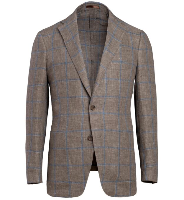 Bedford Brown and Blue Windowpane Linen Jacket