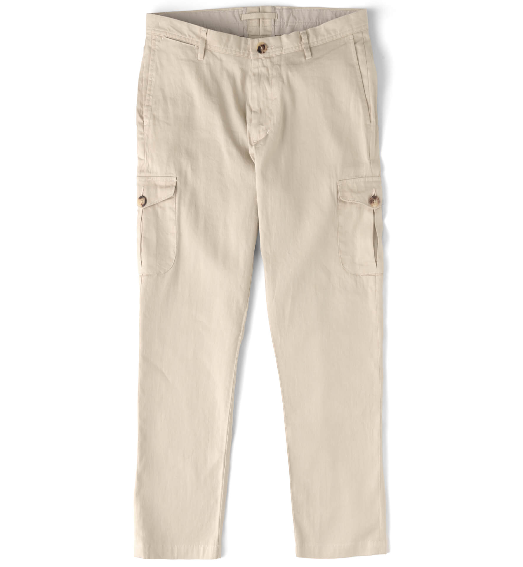 Zoom Image of Thompson Beige Stretch Linen Blend Cargo Pant