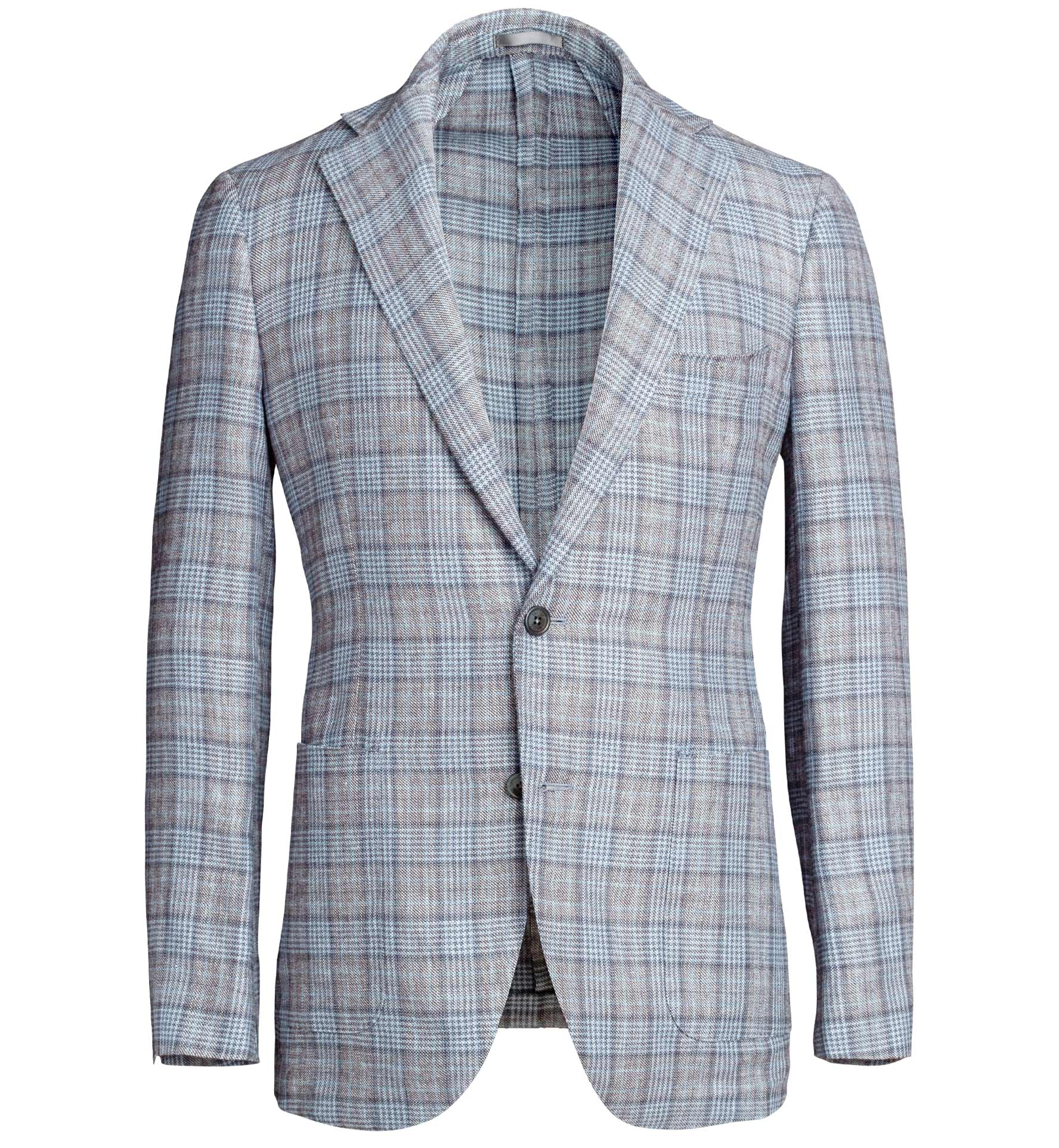 Zoom Image of Bedford Light Grey Prince of Wales Linen and Wool Jacket