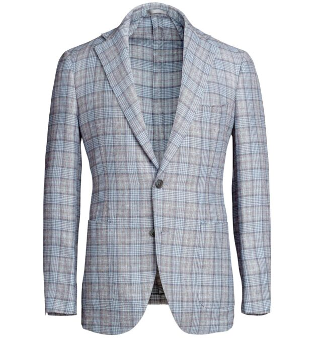 Bedford Light Grey Prince of Wales Linen and Wool Jacket