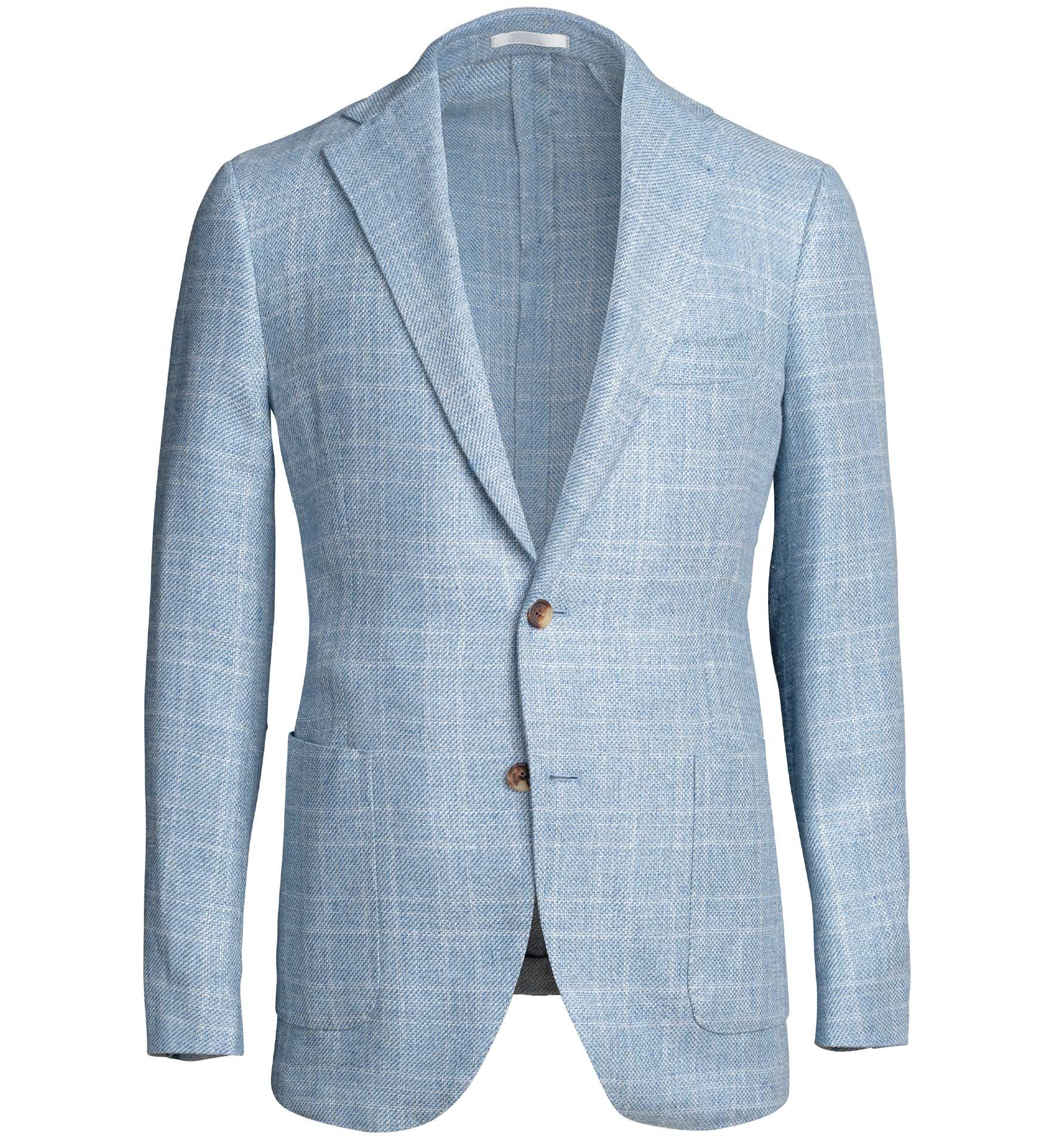 Zoom Image of Bedford Light Blue Plaid Summer Blend Jacket