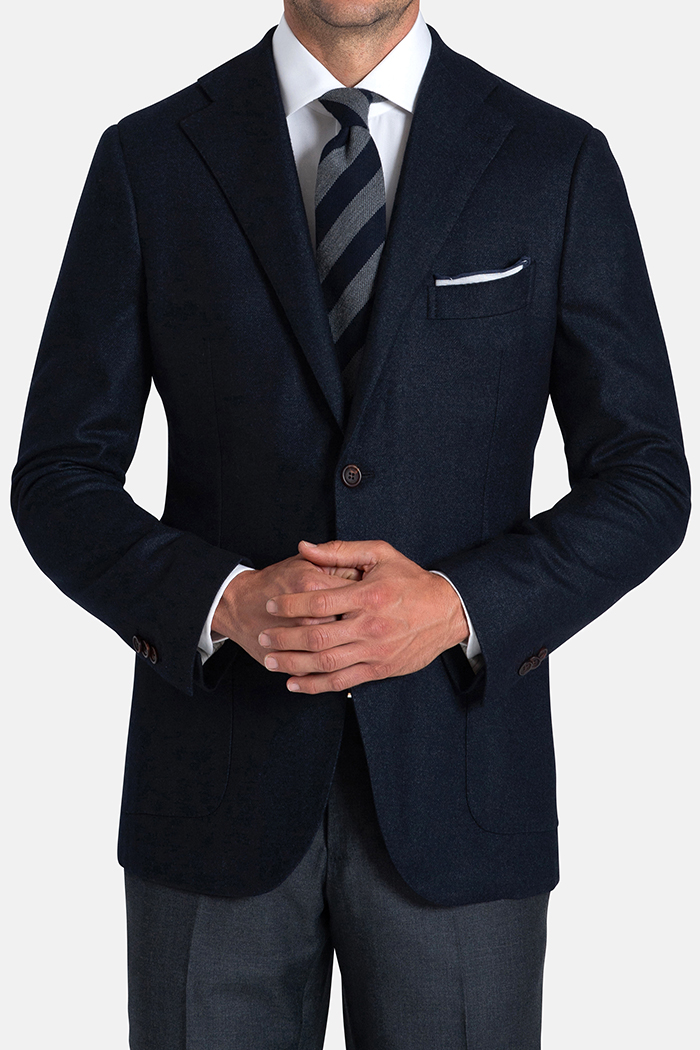 Bedford Navy Wool Silk and Cashmere Flannel Jacket