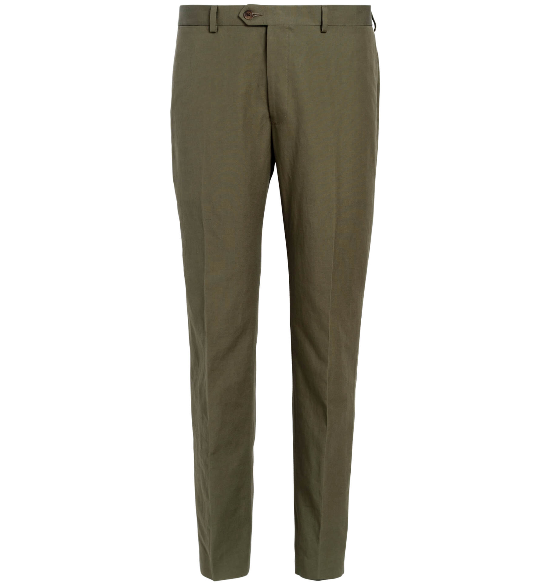 Zoom Image of Allen Olive Cotton and Linen Canvas Trouser