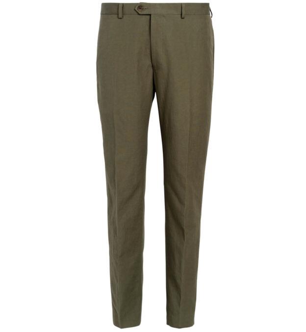 Allen Olive Cotton and Linen Canvas Trouser
