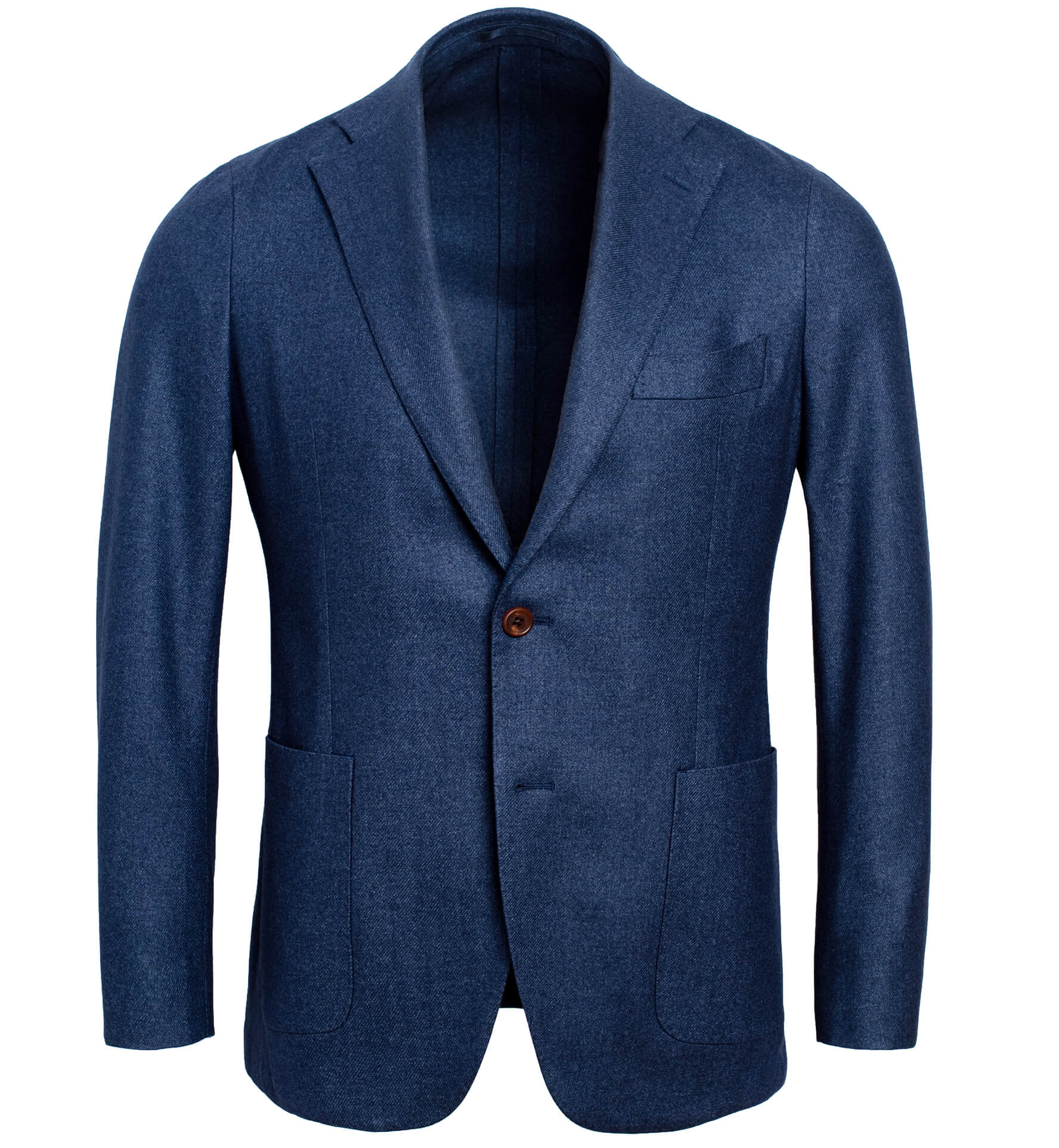 Zoom Image of Bedford Ocean Blue Wool Silk and Cashmere Flannel Jacket