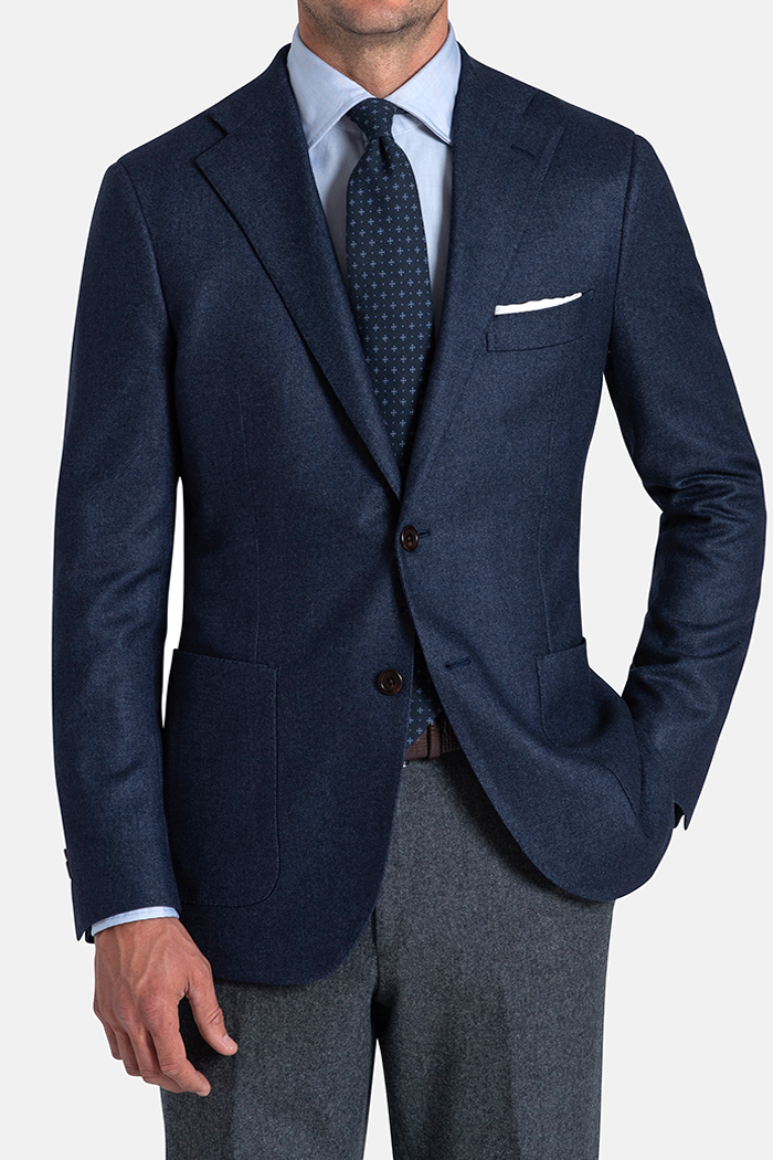 Bedford Ocean Blue Wool Silk and Cashmere Flannel Jacket