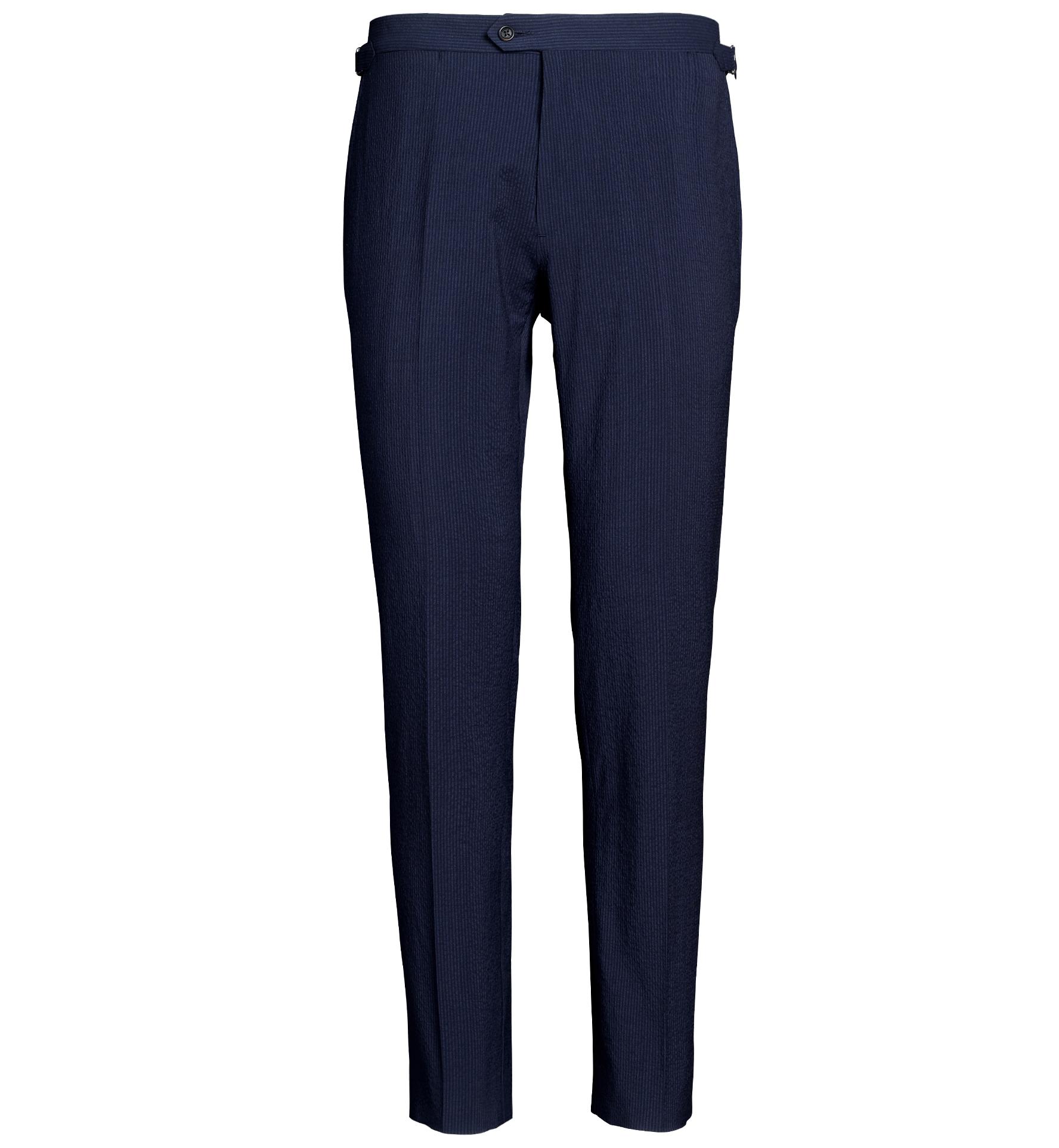 Zoom Image of Allen Navy Stretch Wool Seersucker Trouser