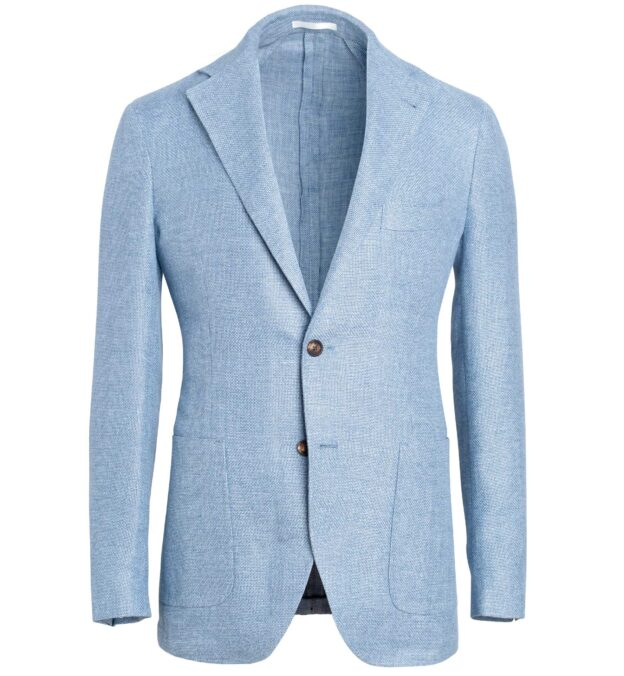 Waverly Light Blue Hemp and Wool Basketweave Jacket