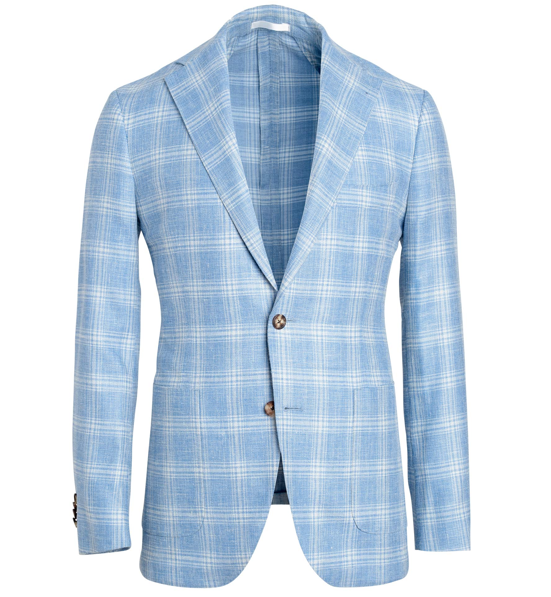 Zoom Image of Bedford Light Blue Plaid Wool Blend Jacket