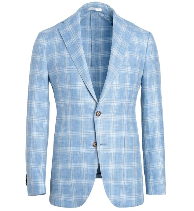 Bedford Light Blue Plaid Wool Blend Jacket