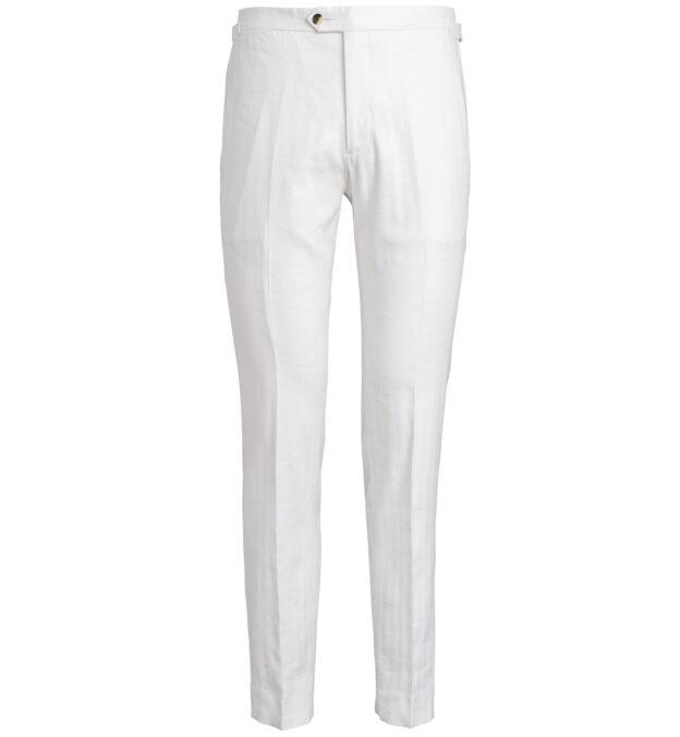 Allen White Cotton and Linen Stretch Herringbone Trouser